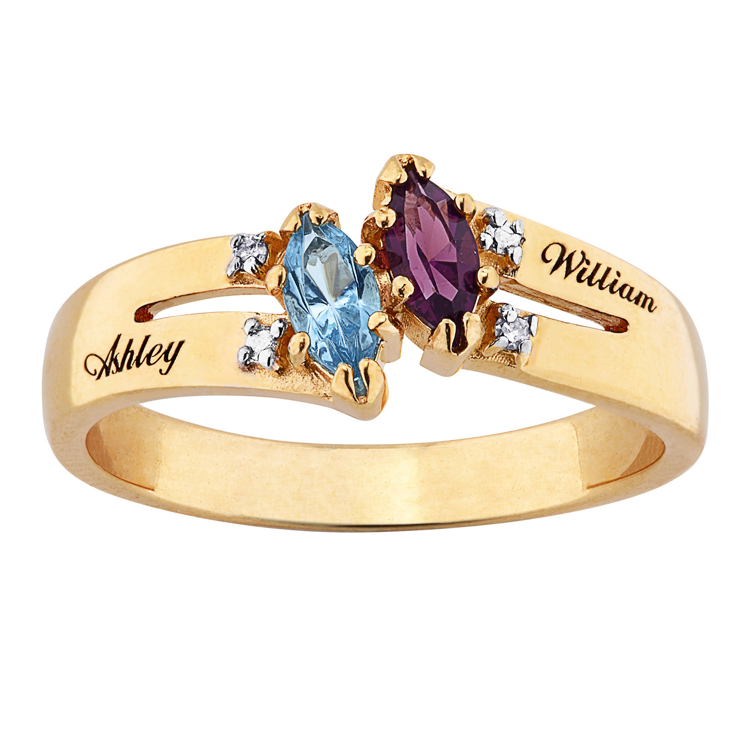10K Couples Marquise Birthstone Name Ring with Diamond Accent